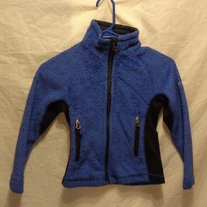 Columbia Blue and Black Zip up Girls Fleece 7/8